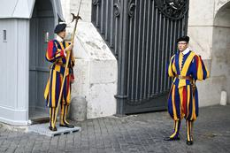 End of the tour as we exit the Swiss Guards are posted at a vehicle entrance. , Robert C - October 2014