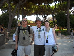 Our guide. Taking a rest / photo break on an overlook of Rome. , kaw - August 2011