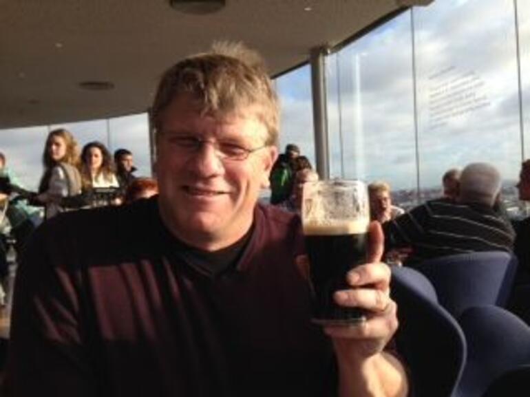 Enjoying our free Guinness in the Gravity Bar - Dublin