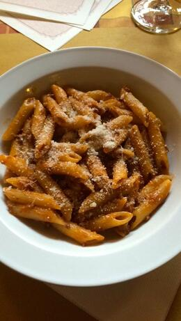 The second course is a penne bolognese served with a Chianti wine , Kristine Renna - December 2014