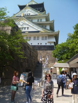 Standing in front of the tower at Osaka Castle , Oksana P - June 2015