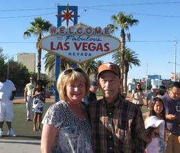 On way to Lake Mead your bus stops for photos at famous sign , Susan - August 2011