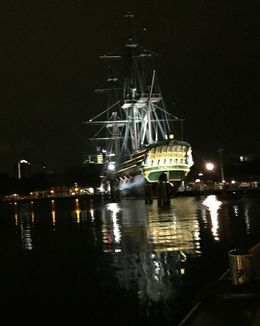 Old sail boat viewed from the water at night - fairy tale stuff , Tony V - September 2015