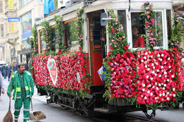 Tram along Taksim and Istikhlal street, decorated for occasions. , Prezzman - June 2014