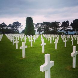 A view of the cemetary in Normandy. ALL the graves face west towards the USA. , Linda R - July 2016