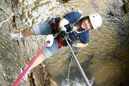 Rappelling down the waterfall, Kevin G - July 2010