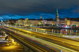 Photo of Stockholm during photo tour with trains passing in the foreground. , gregg M - October 2016
