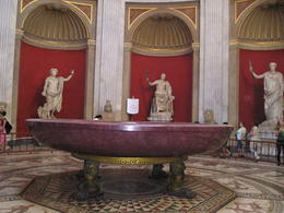 The large marble bowl with mosaic flors and statues in the Vatican museum , Christine L - May 2012