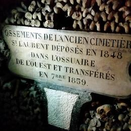 A plaque in the Catacombs, stating when the remains in this ossuary were placed in this particular spot. , LisaMarie - November 2014