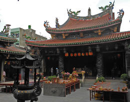 Court and offerings in Lung Shan Temple at Lukang , Barry S - January 2013