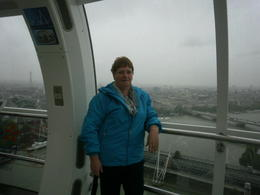 Lorraine from NZ enjoying the sights from the London Eye in the rain , LORRAINE B - December 2013