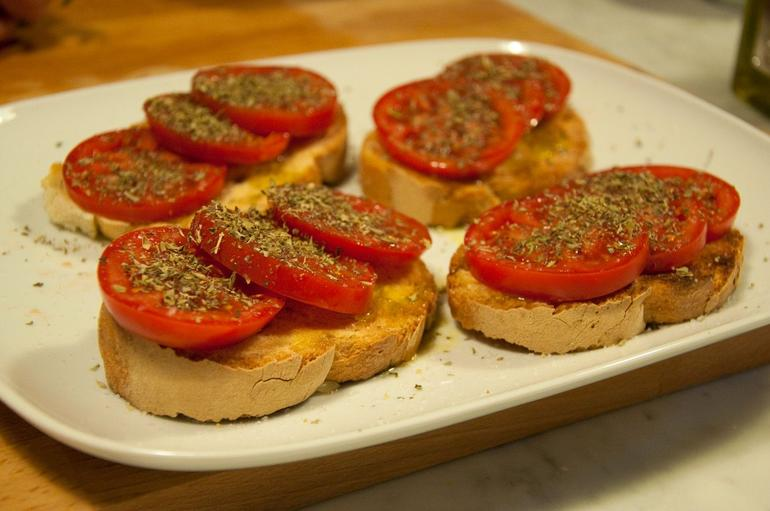 The yummy bruschetta we made with fresh garlic and tomatoes - Florence