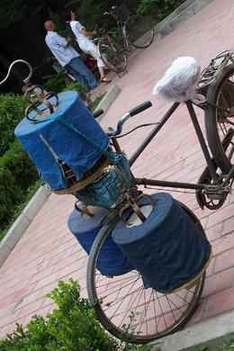 Bird cages on a bike in Temple of Heaven park, Bing - May 2012