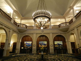 Impressive lobby of the Chateau Lake Louise, including a marvellous chandelier of alpine women bearing torches which survived the fire that burned down the previous chateau. , Amadeo P - August 2016