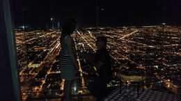 The proposal overlooking the beautiful city lights of Chicago. , Bill M - August 2015