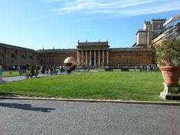 This is the garden behind the museum at the beginning of the tour where you see the paintings that will be in the Sistine Chapel. , Janet H - May 2014
