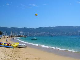 Parasailing off the beach on Acapulco Bay , Leah - May 2011