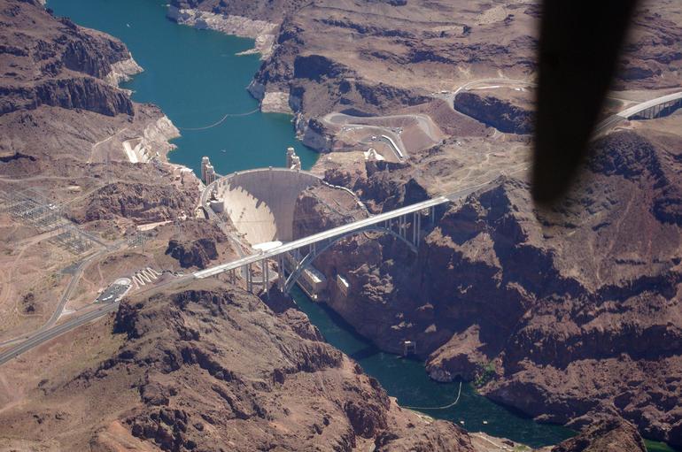 Flying over the Hoover Dam. - Las Vegas