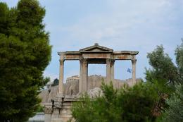 Acropolis seen through the openings of the top of Hadrian's Arch. , sharon - August 2013
