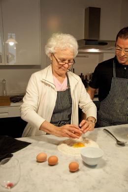 This was a pretty messy task and Giovanni let his students actually work the dough themselves, Macharva L - April 2010