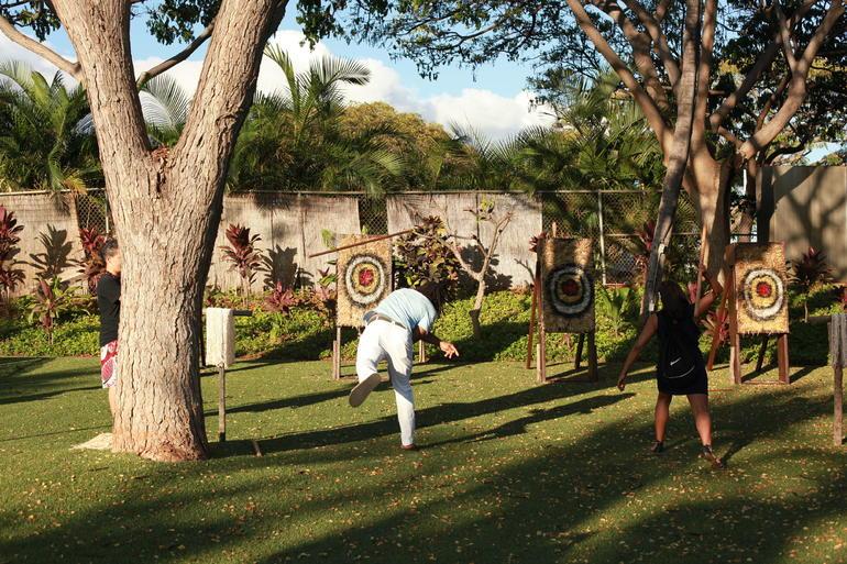 Dart-throwing at Paradise Cove - Oahu