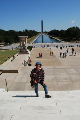 My wife Marissa posing at the George Washington Monument , Mark B - September 2013