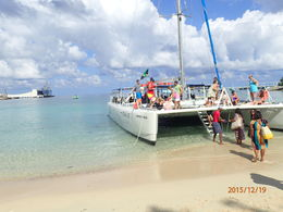 about to board the catamaran , Estrella M - December 2015