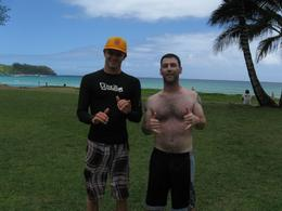 Me and John at Hanalei Beach after our surf lesson. - July 2010