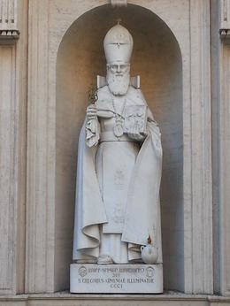 This statue is prominently seen on the tour when moving from the Sistine Chapel to St. Peter's. Wonderfully executed work of the Armenian saint who converted the pagan King Tiridates in A.D. 301. ... , j.k.magarian - September 2014