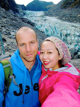 Taking a great picture with Henno with the glacier at the back , L D J - April 2013
