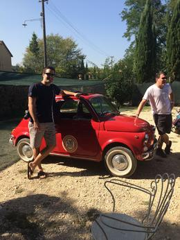 We were picking out our cars... these were other guests on the Fiat 500 (dbl clutch)tour through tuscany... before the wine tasting... fun day! , Amy F - October 2014