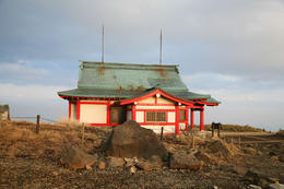 On the top of Mt Komagatake sits this temple/ house. , Curtis M - December 2010