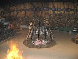 Salmon being cooked in the traditional way for our dinner., Undercover Américan - October 2010