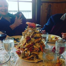 eating crab at the lodge , Tibor N - September 2016