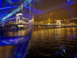 The Danube by night through my wine glass - , Mary R - December 2016