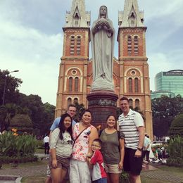 Photo op in front of the Notre Dame Cathedral. Our first stop in the Half Day Tour of Ho Chi Min City. , Trang N - January 2016