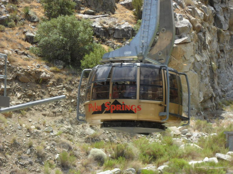 Tram Entering Base Station - All Aboard! - Palm Springs