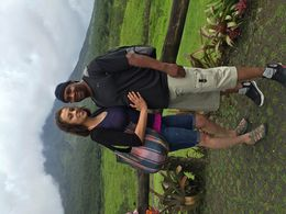 Raheem and Amorette enjoying the Arenal Volcano scenery in the background. , radio - June 2015