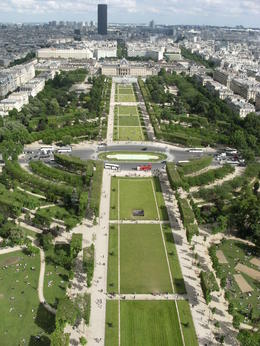Pic from the very top of the Eiffel Tower! You can see the beautiful lawn and Chump De Mars in the background, this is where Napoleon once went to military school!! , James R - June 2013