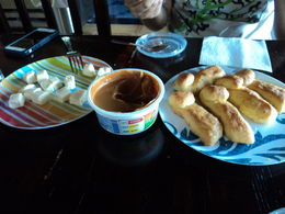 Bizcoshos served caramel spread and chese , Richard L - May 2016