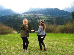 Danielle and Kate embracing the incredible view of one of Italy's small towns , Danielle B - April 2016