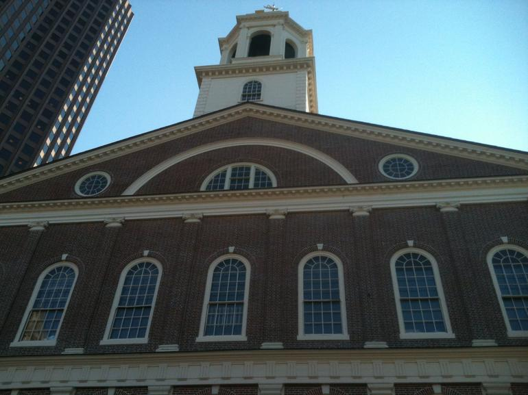 Looking up at the top of Faneuil Hall - Boston