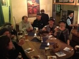Enjoying beer samples at the museum before heading off to our next stop. , CJ - April 2013
