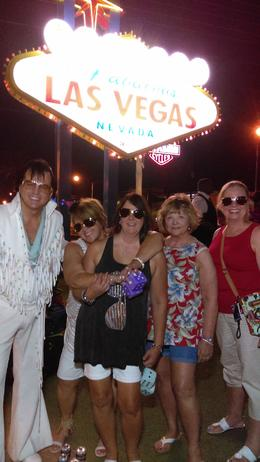 Jackie, Cheryl, Joyce and Lil enjoying our own Elvis at the Welcome to Las Vegas sign. , JACQUELINE M - September 2016