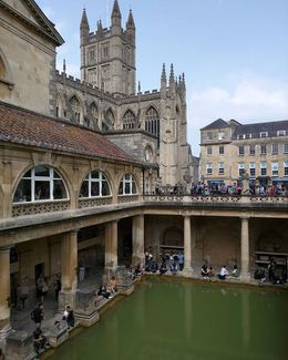 This is a picture from inside the Roman baths in Bath. Your tour will take you inside where you can see stunning views of the Abbey as well. , Lindsay R - June 2016
