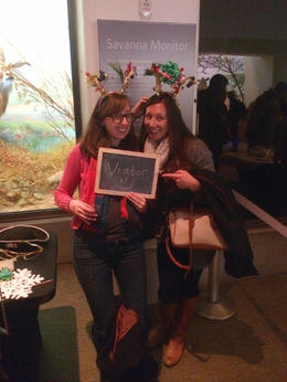 Nightlife at the Academy of Sciences - in line for the holiday photo booth!, Cat - December 2013