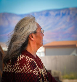 Contemplative Hualapai Indian woman during break , Barbara R - February 2017