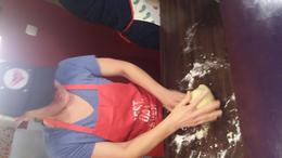 Taking turns kneading the dough. , Heather H - October 2017