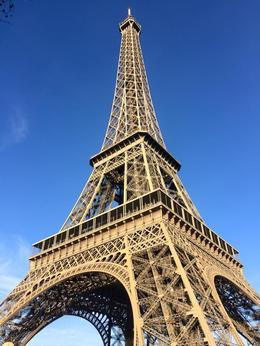 We are looking up at the Eiffel Tower , Carol B - January 2015