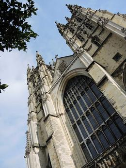 Nice vertical closeup of the outside of Canterbury Cathedral , Barbara W - October 2013